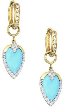 Diamond Pavé, Turquoise & 18K Yellow Gold Earring Charms - Gold