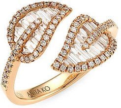Small 18K Rose Gold & Diamond Baguette Leaf Ring - Rose Gold