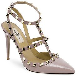 Garavani Rockstud Leather Slings - Beige - Size 37 (7)