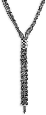 Braided Sterling Silver Lariat Necklace - Silver