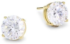 18K Goldplated Sterling Silver & Round Cubic Zirconia Stud Earrings - Gold