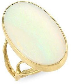 Organic 18K Yellow Gold & Opal Branch Ring - Opal - Size 6