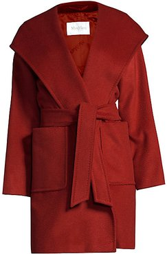 Rialto Hooded Wool Wrap Jacket - Red - Size 14