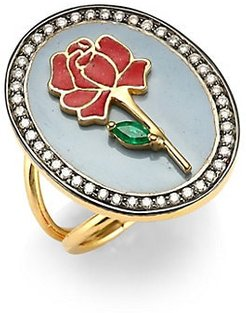 Red Rose 18K Gold, Emerald & Diamond Ring - Gold - Size 6