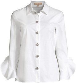 Jeweled Button Flare Sleeves - White - Size 2