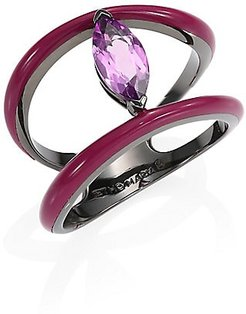Marquise Amethyst 18K Yellow Gold Ring - Purple - Size 7