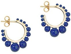 Small Ana 18K Yellow Gold-Plated Bauble Post Earrings - Gold Blue