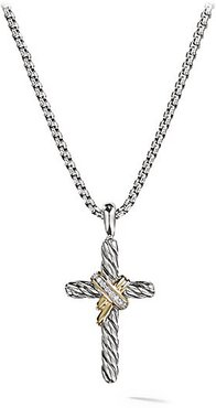 Cable Collectibles® X Crossover Cross With Diamonds & Gold On Chain - Silver Gold