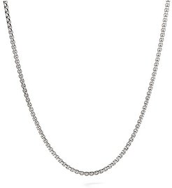 Chain Sterling Silver & 14K White Gold Box Link Necklace - Silver Gold - Size 20 INCH