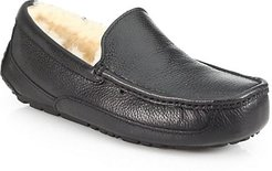 Ascot UGGpure-Lined Leather Slippers - Black - Size 8