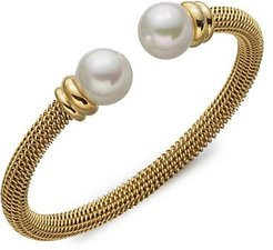 12MM White Pearl Tipped Bracelet - Gold