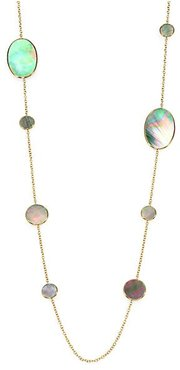 Polished Rock Candy 18K Yellow Gold & Black Shell Circle Oval Station Necklace - Gold