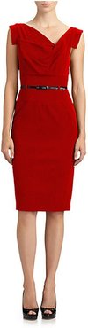 Belted Sheath Dress - Red - Size 6