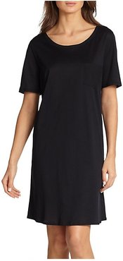 Cotton Deluxe Short Sleeve Gown - Black - Size Small