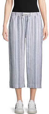 Striped Wide Cropped Pants