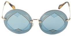 62MM Heart Cut-Out Round Sunglasses