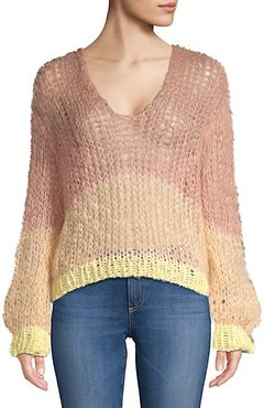 Stripe Mohair Blend Sweater