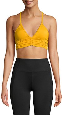Floral Printed Ruched Sports Bra