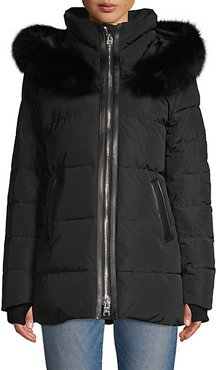 Nakiska Blue Fox Fur & Leather Trim Puff Down Jacket