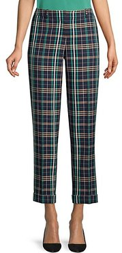 Tocanes Stretch Cotton Check Cuffed Trousers