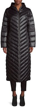 Long Chevron-Quilted Down Puffer Coat
