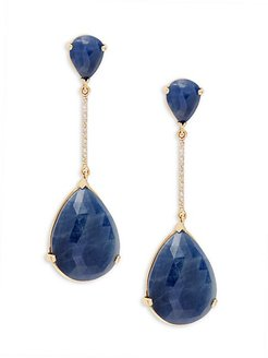 14K Yellow Gold, Blue Sapphire & White Diamond Drop Earrings