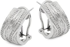 Sterling Silver & White Diamond Leverback Earrings