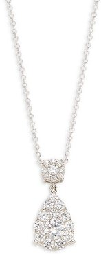Sterling Silver & Simulated Diamonds Pendant Necklace