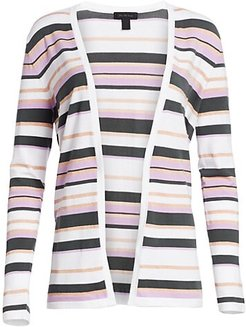 COLLECTION Viscose Elite Open Front Striped Cardigan