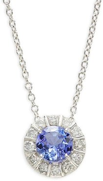 14K White Gold, Tanzanite & Diamond Pendant Necklace