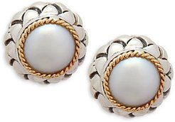 Sterling Silver, 18K Yellow Gold & 6MM Freshwater Pearl Earrings