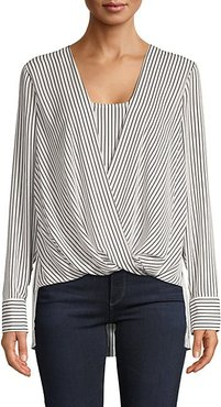 High-Low Striped Wrap Blouse