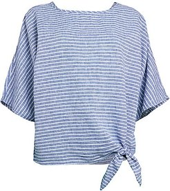 Stripe Knotted Linen T-Shirt