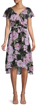 Moody Floral-Print High-Low Dress