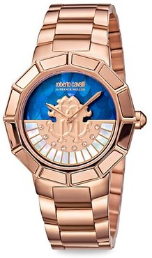 RC-11 Rose Goldtone Stainless Steel Mother-Of-Pearl Bracelet Watch