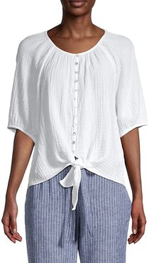 Lala Cotton Tie-Front Blouse
