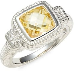 Sterling Silver, Canary Cubic Zirconia & White Sapphire Cushion Ring