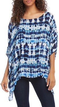 Layered Scarf Tie-Dyed Top