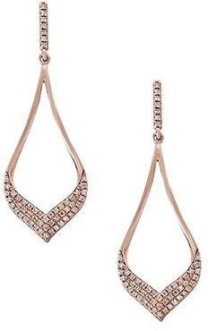 Diamond and 14K Rose Gold Dangle Earrings, 0.33 TCW