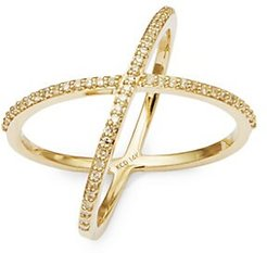X Diamond and 14K Gold Ring
