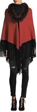 Fox Fur Collared Fringe Wrap