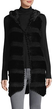 Knitted Rabbit Fur Hooded Vest