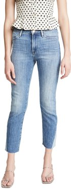 Le High Straight Side Triangle Gusset Raw Edge Jeans