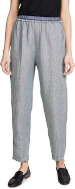 Linen Metallic Diagonal Jogging Pants