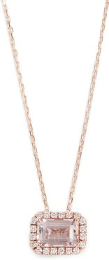 14k Rose Gold Emerald Cut Necklace