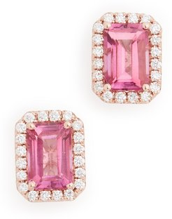 14k Rose Gold Emerald Cut & Pave Diamond Stud Earrings