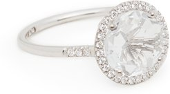 14k White Gold Ring with Round White Top