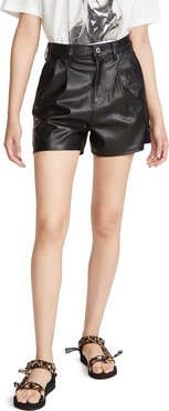 Hi Rise Faux Leather Shorts