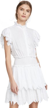 Sleeveless Embroidered Smock Dress