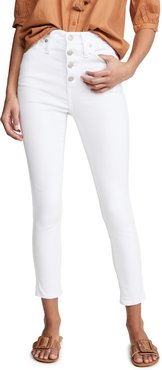 """10"""" High Rise Button Front Skinny Jeans"""